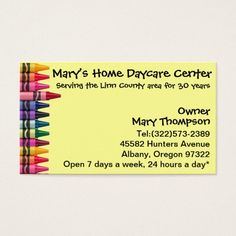 daycare babysitting childcare business card - Babysitting Business Cards