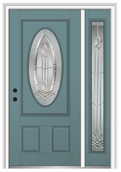 Shown Is A Bristol Small Oval Entry Door With Right Sidelite Paintedu2026