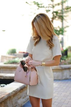 Neutral Sheath, Pastel Pink bag & gold cuff.