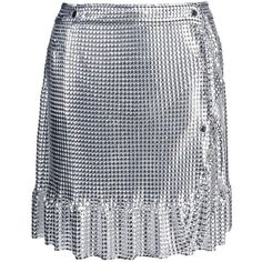 Paco Rabanne Chain-Mail Wrap Skirt ($900) ❤ liked on Polyvore featuring skirts, mini skirts, silver, frilly skirt, elastic waist skirt, elastic waist mini skirt, ruffle skirt and short ruffle skirt