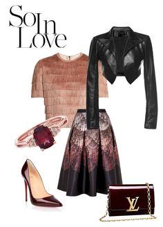 """Başlıksız #152"" by pinkcrema on Polyvore featuring moda, Christian Louboutin, Raey, Ted Baker, Louis Vuitton ve Leka"