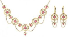 Feminine Jewelry Set Necklace and Earrings by Lucia Costin with Filigree Ornaments Falling Chains and Cute Flowers Set with Pink and White Swarovski Crystals 24K Yellow Gold over 925 Sterling Silver Handmade in USA >>> Read more reviews of the product by visiting the link on the image.