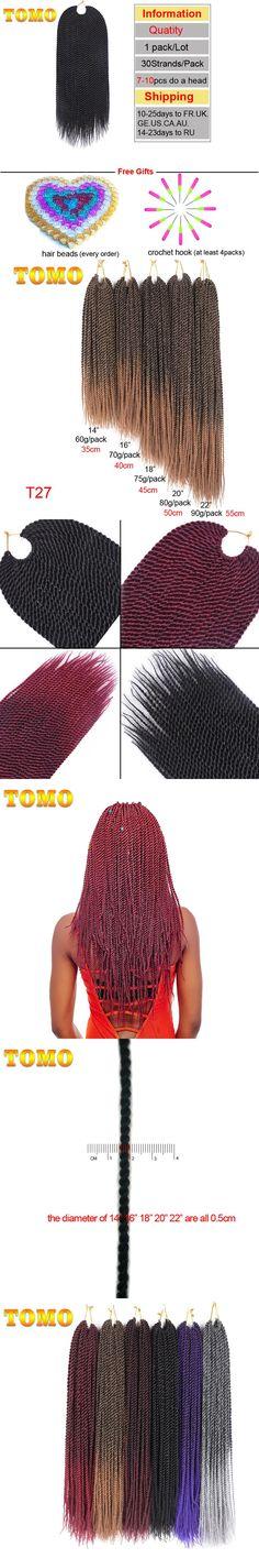"TOMO Hair 30roots 14"" 16"" 18"" 20"" 22""  Synthetic Braiding Hair Ombre Kanekalon Senegalese Twist Hair Crochet Braids 1Pack"