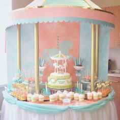 Vintage Carousel Baby Shower | CatchMyParty.com