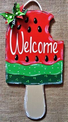 Welcome Popsicle Watermelon Sign Wall Art Door Hanger Plaque Pool images ideas from Best Door Photos Collection Wooden Door Signs, Wooden Doors, Burlap Door Hangers, Letter Door Hangers, Diy Deck, Deck Patio, Pool Backyard, Wood Patio, House With Porch