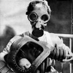 Gas mask, with baby.