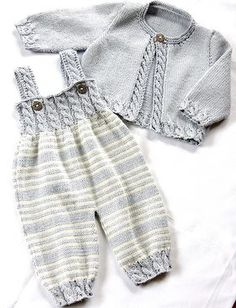 Baby Overalls with detailed cabled bodice and matching sweater - Zopfstrampler m. - - Baby Overalls with detailed cabled bodice and matching sweater - Zopfstrampler mit passendem Jäckchen Baby Overalls with detailed cabled bodice and ma. Baby Knitting Patterns, Knitting For Kids, Baby Patterns, Free Knitting, Dress Patterns, Baby Overalls, Baby Jumpsuit, Baby Dress, Baby Kimono