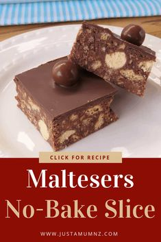 No Bake Slice Delicious and simple Malteser Slice. Great with chocolate and packed with maltesers.Delicious and simple Malteser Slice. Great with chocolate and packed with maltesers. Tray Bake Recipes, Brownie Recipes, Chocolate Recipes, Gourmet Recipes, Baking Recipes, Sweet Recipes, Cake Recipes, Dessert Recipes, Malteser Recipes