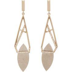 Monique Péan Scandinavian Meteorite, Diamond & White Gold Drop Earrings
