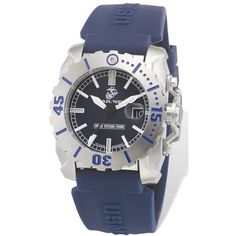 US Marines Wrist Armor Blue Rubber Swiss Quartz Tritium Watch ($350) ❤ liked on Polyvore featuring men's fashion, men's jewelry, men's watches, men's blue dial watches, mens blue watches and mens rubber watches