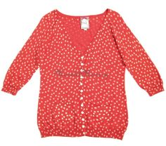 Polka dots sweater set is fun and flirty with a retro kick! Button-front cardigan and tank in red by Yoana Baraschi with a flattering V-neck and curvy shape. Silk and cotton blend lightweight fine-gauge twinset. Offered in size L by moonlit memory on ebay.