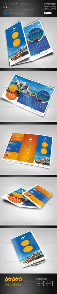 Travel Agency Trifolder by pixelonpl Double sided trifolder brochure for any kind of business. In particular for travel agency or sports event.The PSD file is very wel