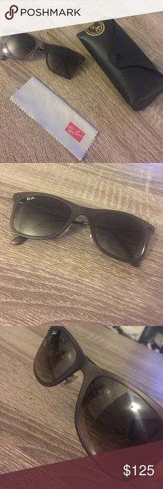 RayBan Light Ray Sunglasses Super lightweight RayBans in a nice brownish-dark purple color! Repaired at Sunglass Hut, but left earpiece is still slightly bent/loose (see pictures). It can probably still be bent back to the right position if carefully done - I am just afraid to do it myself. Still sits on face well, and can't tell there are any flaws. Feel free to ask me for more specific pictures and I can provide them! Ray-Ban Accessories Sunglasses