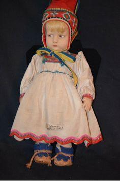 Antique Doll Lenci 300 Series Original Tagged Dress Pouty