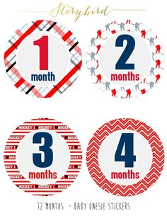 Hockey theme Monthly one-piece bodysuit Stickers - Boy 1-12 Months - Photo stickers - Pre-cut