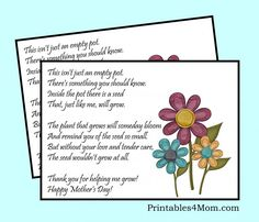 Mother's Day Empty Pot Gift Idea with Free Printable - Printables 4 Mom Mothers Day Poems Preschool, Mothers Day Crafts, Mother's Day Projects, Craft Projects, Mothers Day Flower Pot, Flower Poem, Mother Poems, Mothering Sunday, Unique Mothers Day Gifts