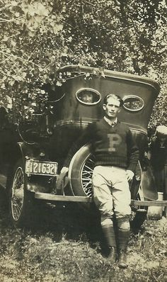 Letterman, 1920's photo print men's wear sweater pants boots vintage car, found photo man