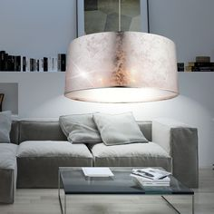 DESIGN Hange Leuchte Wohnzimmer Stoff Pendel Lampe Rund Decken Flur Beleuchtung