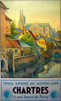Duveroie: Chartres, Joyau unique du moyen-age, vintage travel poster 1930s