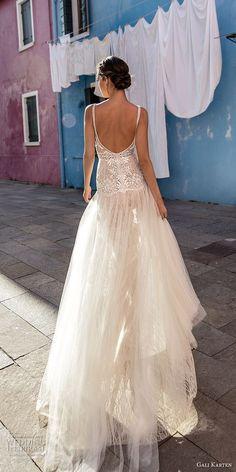 gali karten 2018 bridal sleeveless deep v neck heavily embellished bodice high slit skirt romantic sexy soft a line wedding dress open scoop back sweep train (1) bv