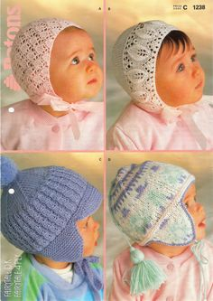 Published in 1975 by Patons & Baldwin Ltd., two bonnets and two helmets in Patons Fairytale 4ply and DK wool.