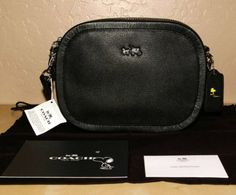 Coach X Peanuts Black Leather Woodstock Mini Zip Around Crossbody Handbag NEW