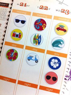 Hawaiian Stickers / Day Planner Stickers that fit perfectly in any planner. Picture shown is in a Erin Condren Planner.
