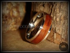Bentwood Waterfall Bubinga Wood Ring with Metal Core. Handcraftedwood rings for wood wedding bands, wood wedding rings, wood engagement rings,wooden anniversary rings or simply a natural wooden ring that is eco-friendly and symbolically special.