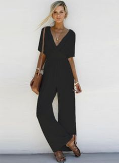 ROMOO Womens Summer Jumpsuit Casual Loose Short Sleeve Jumpsuit Rompers with Belt