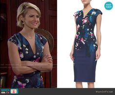 Caroline's navy floral v-neck dress on The Bold and the Beautiful.  Outfit Details: http://wornontv.net/53196/ #TheBoldandtheBeautiful