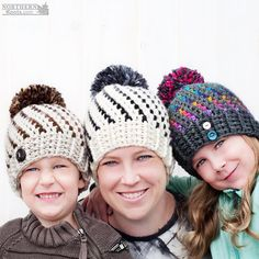 Crochet Hat Pattern - Northern Lights Pom Pom Hat Crochet Pattern - Crochet Beanie Pattern - Adult Sizes  This listing is for a PDF Crochet Pattern. The Northern Lights Beanie (Hat) - Adult Sizes Only. English pattern.  Its chunky, its cozy and it has an awesome splash of colour. Plus it has a huge pom pom! Who doesnt love a good pom pom??? It wont take long before you are in love with crocheting the Northern Lights Beanie. Trying new and fun colour combos is addictive! Dont say I didnt warn…