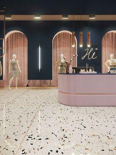 Boutique - minh ha Hi! Boutique Hi! Boutique on Behance Boutique Design, Design Shop, Design Entrée, Boutique Decor, The Design Files, Cafe Design, Design Ideas, Design Trends, Fashion Boutique