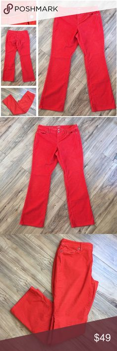 LOFT curvy boot orangey red corduroy pants 31/12R LOFT curvy bootcut corduroy pants in a great orangey red fall color! 67% cotton / 31% polyester / 2% spandex is lightweight and smooth with a little give and machine washable. Size 31/12 is true to size. Gently pre-loved in EUC with tons of life left! LOFT Pants Boot Cut & Flare
