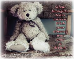 Silent thoughts, tears unseen, Wish your absence was only a dream.