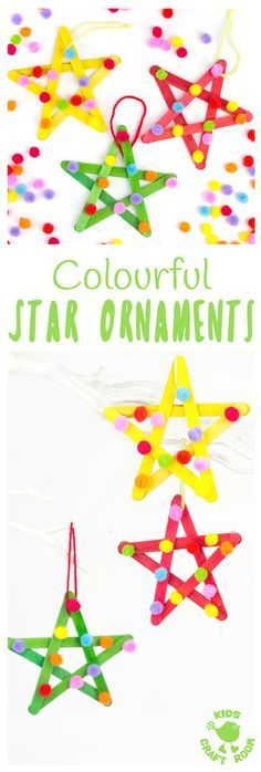STAR ORNAMENTS -As you add each pom pom say a prayer. Living eavh moment in prayer learn more at www.livingstreamsflowingwater.com #diy_kids_boys