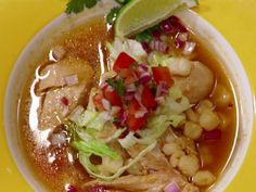 Pressure Cooked Chicken Posole with Avocado Tomatillo Salsa recipe from Food Network Star via Food Network