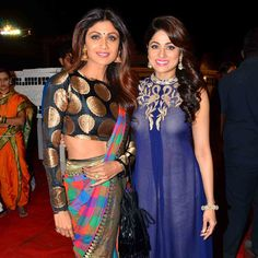 Top Bollywood celebs, walked the red carpet, peformed at the 2016 edition of the annual Umang Police Show. Shah Rukh Khan, Ranbir Kapoor, Katrina Kaif and others were present. We have pictures. New Saree Blouse Designs, Blouse Patterns, Lakme Fashion Week, Tokyo Fashion, Indian Beauty Saree, Indian Sarees, Shamita Shetty, Sari Design, Elegant Saree