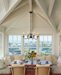 Beach Home Dining - love those sunflowers!