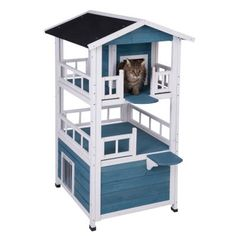This luxury Penthouse Cat House is perfect for privileged pets! The three-storey cat mansion offers plenty of space and is ideal for multi-cat households. Outdoor Cat Tree, Indoor Outdoor, Foyers, Cat Mansion, Niche Chat, Wooden Cat House, Wood Facade, House Essentials, Wet Dog Food