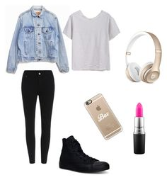 """Everyday school styles! #2"" by autumnrebels ❤ liked on Polyvore featuring Levi's, Converse, Casetify and MAC Cosmetics"
