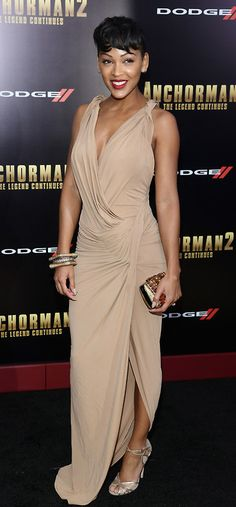 """ Meagan Good's Anchorman The Legend Continues New York City Premiere Donna Karan Plunging Evening Gown, Jimmy Choo Fitch Sandals, and Clutch "" Cool Short Hairstyles, Short Hair Styles, Donna Karan, Megan Good, Meagan Good Sister, Jimmy Choo, Dresses Elegant, Formal Dresses, Hollywood"