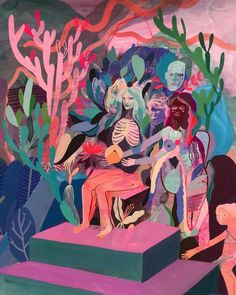 "The mixed-media paintings of Betsy Walton carry surreal, vibrant scenes, with characters that meld into each other and their natural backdrops. A current body of work, titled ""Psychic Landscapes,"" gathers new views into her dreamlike worlds. Anime Comics, Painting Inspiration, Art Inspo, Art Nouveau, Wow Art, Contemporary Paintings, Abstract Art, Abstract Portrait, Portrait Paintings"