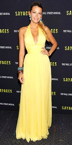 Accent a yellow dress with turquoise accessories like Blake Lively in Gucci and Lorraine Schwartz