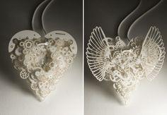 Papercut heart made of gears via neither snow blog