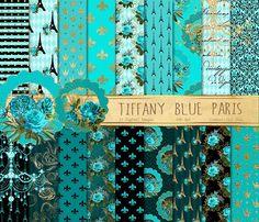 Tiffany Blue Paris Digital Paper by Origins Digital Curio on @creativemarket