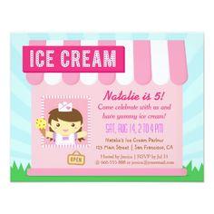 Kids Birthday, Cute Ice cream party invitations