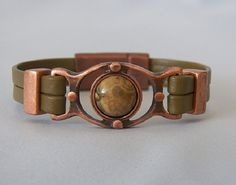 Antique Copper Rhyolite Stone and Olive Leather by ZeldasJewelry