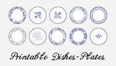 Printable blue and white plates