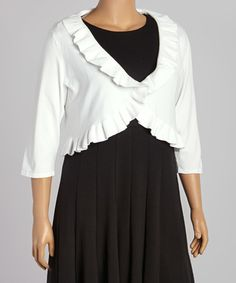 White Ruffle Three-Quarter Sleeve Shrug - Plus #zulily #zulilyfinds