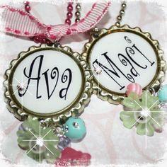 Girls Name COLORFUL Bottlecap Necklace